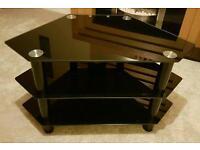Black glass shelved TV stand