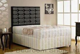 FULL FOAM MATTRESS SET Brand New Double Divan Bed Base With WHITE ORTHOPAEDIC Mattress