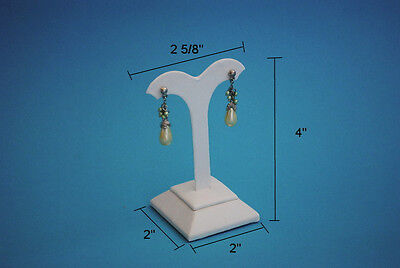 4h High White Leatherette Earring Jewelry Display Top Case Stand Rd16w1