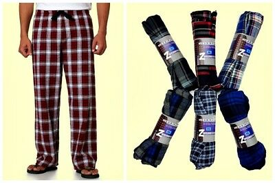 Flannel Pajamas For Men - One Pair Men's Flannel Lounge Pants Plaid Sleepwear Pajama Bottoms Pockets NEW