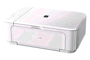 PIXMA white inkjet works perfectly in good condition without pow