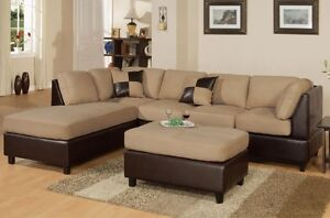 LIGHT BROWN SECTIONAL AND FREE OTTOMAN