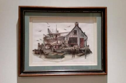 Fishing Boat Harbour - paper tole - great gift