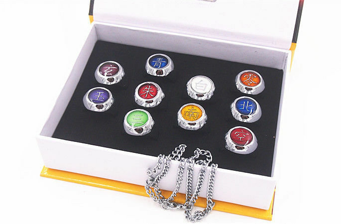 Set 10 Naruto Shippuden Akatsuki Cosplay Costume Ring Metal New in Box