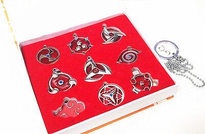 Anime Naruto Shippuden Set 9 Konoha Necklace Pendant Keychain Metal Toy