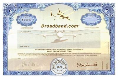 Broadband.com (Dot Com High Flyer) shows airplane designed by Burt Rutan 1998
