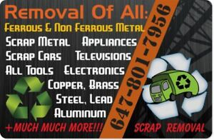 100% FREE Removal of all Scrap Metal/Electronics/Appliances FREE