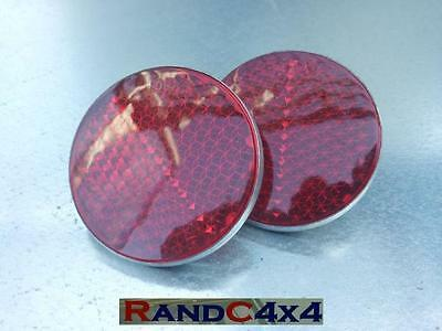 551595 Land Rover Series 1 2 2a 3 Red Rear Reflectors Round Set of 2