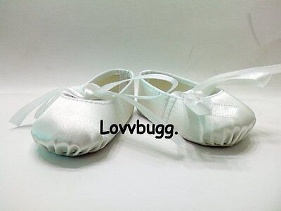 "Lovvbugg White Ballet Slippers Shoe Hard Toe for 18"" American Girl or Boy or Baby Doll Shoes"