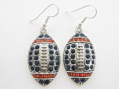 Football Navy Blue & Orange Crystal Earrings Jewelry Auburn Tigers Chicago Bears