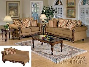 Acme Olysseus Traditional Elegant Carved Wood Tan Brown Sofa Couch Loveseat