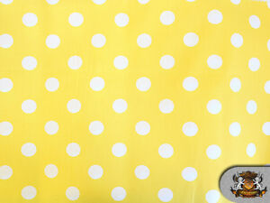 Polycotton-Printed-BIG-DOTS-WHITE-YELLOW-BACKGROUND-56-wide-by-the-yard