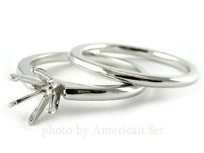 14K WHITE GOLD DIAMOND RING SETTING WEDDING SET ENGAGEMENT