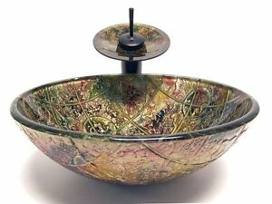 Luxury-Bath-Tempered-Glass-Vessel-Sink-Oil-Rubbed-Bronze-Waterfall ...