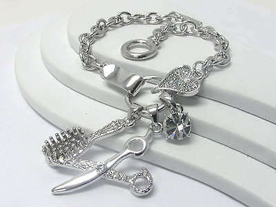 Hair Stylist Crystal Scissors Brush Charm Bracelet