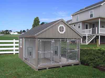 DURABLE K-9 POLICE 2 DOG CUSTOM BUILT OUTDOOR KENNEL RUN HOUSE AMISH DUTCH SHED on Rummage