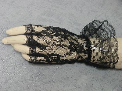 Victorian Gothic Steampunk Old West Civil War Black Lace Fingerles Gloves