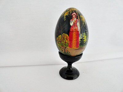 Russian Black Lacquer Decorative Egg on Rummage