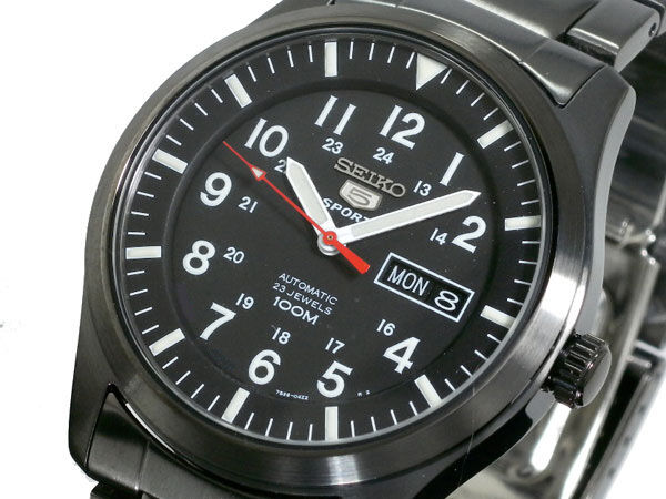 SEIKO 5 SNZG17 SNZG17K1 Army Automatic Black Steel Free Ship !