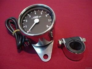 CHROME-MINI-TACH-TACHOMETER-FITS-SUZUKI-WITH-CLAMP