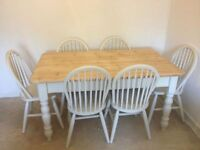 Solid Pine Farmhouse Table and 6 Chairs- (Farrow and Ball)