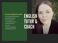 Private English Lessons With English Tutor / Coach ($25/hour)