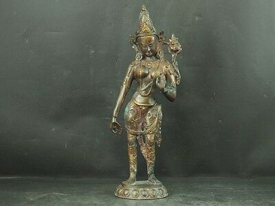 Japanese Antiques Old copper statue BUDDHIST KANNON Bodhisattva from JAPAN a440, used for sale  Shipping to United States