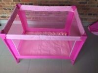 Pink Travel Cot - Excellent Condition