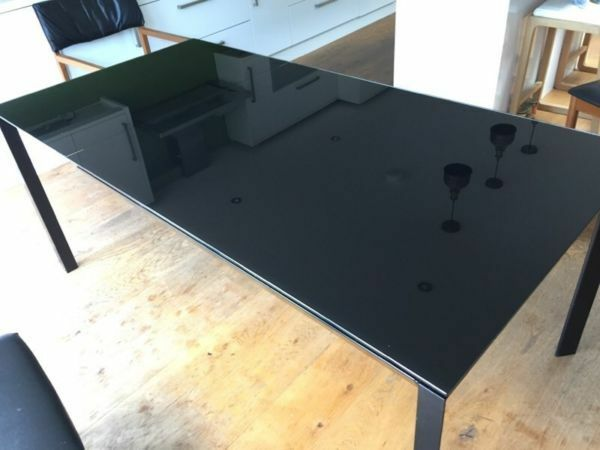 Habitat Black Glass And Metal Extendable Dining Table Rio