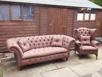 CHESTERFIELD SOFA AND SCROLL CHAIR BRAND NEW