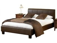 LEATHER BED DOUBLE 4FT6 FRAME BRAND NEW + DELIVERY