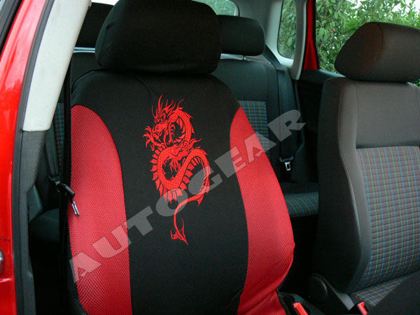 Red Black Dragon Logo Car Steering Seat Covers Package