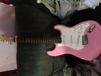 PINK Squier Bullet Strat Electric Guitar