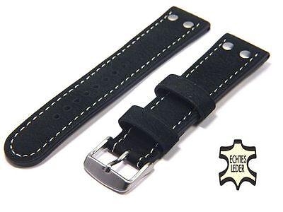 Uhrenarmband 20 mm ECHT WASSERBÜFFEL Schwarz FLIEGER Herren Uhrband