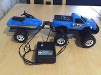 Remote control truck and jet ski trailer