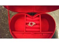 9ct Gold Created Ruby and Diamond Accent Heart Ring