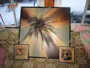 Several R. PARRET SIGNED ABSTRACT EXPRESSIONISM ART OIL PAINTING