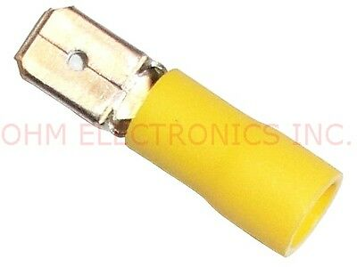Lot of 100 - 0.25 YELLOW 12-10 AWG Vinyl MALE Quick Disconnect 10-15425C