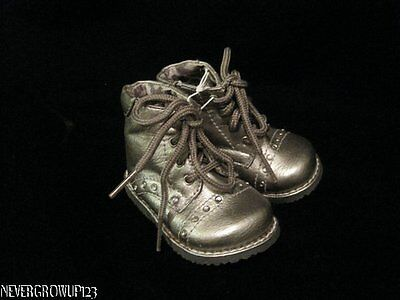 BABY GIRLS SILVER COMBAT FASHION BOOTS WITH RHINESTONES~SIZE 5~NWOT