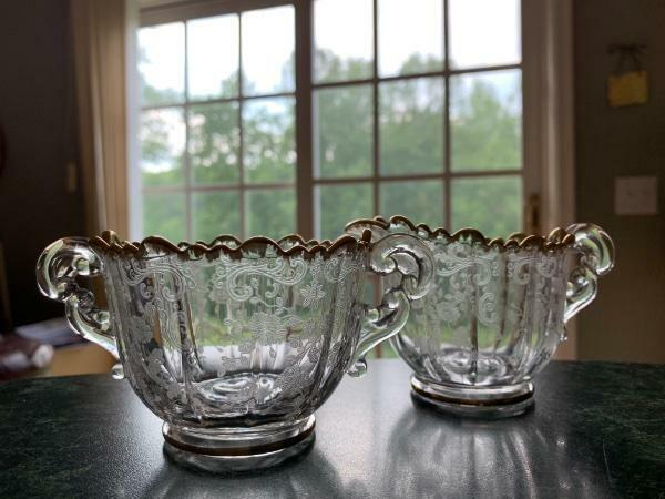 EX RARE VTG CAMBRIDGE CHANTILLY GOLD TRIM 3625 MARTHA SUGAR CREAMER SET~EXC