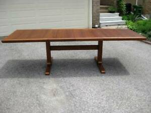 Large 6 - 12 Person Vintage MCM Retro Teak Dining Table, Chairs