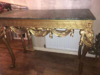 Gold console table and matching mirror
