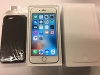 iPhone 6 Unlocked white with tempered glass and case