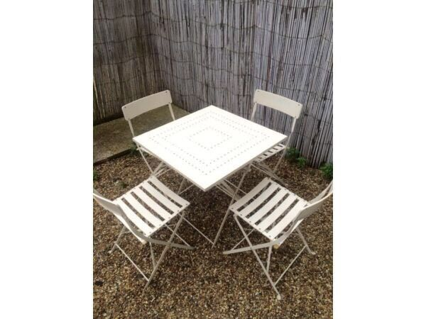 Laura Ashley solid iron cream bistro garden table and 4 chairs set with  cushions - Laura Ashley Solid Iron Cream Bistro Garden Table And 4 Chairs Set