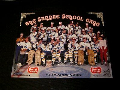 Orig 1983-84 BUFFALO SABRES Hockey PERRY'S ICE CREAM Barrasso Store Promo Poster