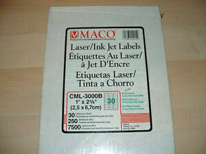 "MACO PRINTING LABELS INKJET 1"" X 2 5/8 London Ontario image 1"