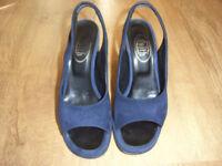 LLadies shoes size 37 (UK size 4). Blue high-heeled suede sling-back.