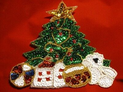 LARGE CHRISTMAS TREE SEQUIN BEADED APPLIQUE 2778-J for sale  Shipping to Canada