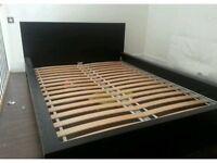 IKEA standard Kingsize Malm Bed and 3 Ikea Besta Shelves Units