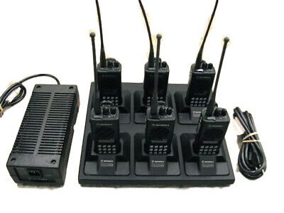 6 Motorola Gtx800 Privacy Plus Radios W Gang Charger